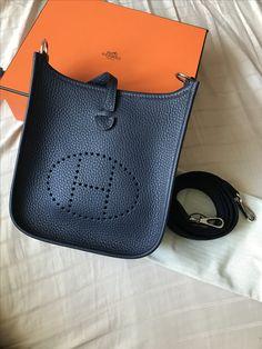 8dcdeb84bbc4 New mini evelyne in bleu nuit!  hermes  sacamain  pinbags  bags Hermes