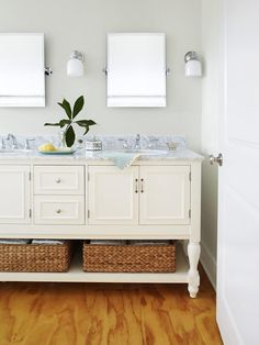 Try marble for a bathroom vanity top (instead of the kitchen counter) where it's less likely to get stained. #hgtvmagazine http://www.hgtv.com/decorating-basics/a-night-shift-home-renovation/pictures/page-11.html?soc=pinterest