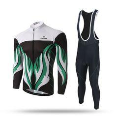 Green Fire Long Sleeve Cycling Jersey Set