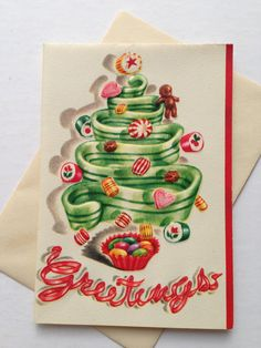Vintage Christmas Greeting Card  Candy by TheGOOSEandTheHOUND, $6.00