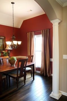 Red Dining Room Curtains Unique Dining Room with A Splash Of Color Red and Gold Curtains Dining Room Curtains, Gold Curtains, Kitchen Curtains, Maroon Walls, Red Walls, Dining Room Paint Colors, Wall Colors, Elegant Dining Room, Terracota