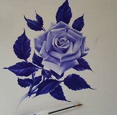Rose Drawing Tattoo, Realistic Rose Tattoo, Tattoo Design Drawings, Rose Flower Tattoos, Blue Rose Tattoos, Flower Tattoo Designs, Rose Reference, Ballpoint Pen Art, Natural Form Art