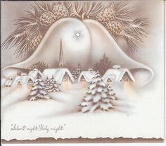 Vintage Christmas Card Snow Covered Village with Bells | eBay