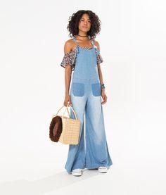 macacao pantalona frente unica Denim Jumpsuit, Jeans Dress, Love Jeans, Jeans Style, Estilo Jeans, Denim Fashion, Womens Fashion, Dress Collection, Ideias Fashion