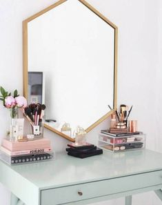 Hexagonal Vanity Mirror with Wooden Accent The Effective Pictures We Offer You About makeup room Dressing Table Vanity, Makeup Table Vanity, Makeup Tables, Makeup Vanities, Vanity Ideas, Dressing Tables, Makeup Desk, Dressing Room, Vanity Tables