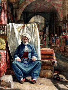 John Frederick Lewis (English, 1804-1876). The Carpet Seller, Khan El Khalil Cairo, 1860