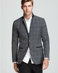 Shop this look for $123:  http://lookastic.com/men/looks/white-dress-shirt-and-charcoal-blazer-and-black-dress-pants/196  — White Dress Shirt  — Charcoal Plaid Blazer  — Black Dress Pants