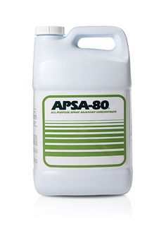 603562 - APSA-80® Concentrate - Description: Description  Also:    It can be used on growing and harvested crops.  It helps alleviate costly down time.  It's non-corrosive, and biodegradable.  It also increases water penetration by getting more water into the soil. APSA-80 aids irrigation by increasing the rate at which water soaks into soil, and it promotes more efficient water usage. Also, it aids irrigation by reducing run-off, so it saves water.  Retail Price: $109.45