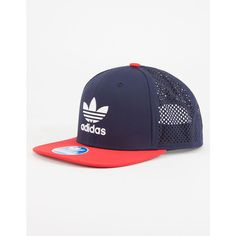 Adidas Beacon Mens Trucker Hat ($28) via Polyvore featuring men's fashion, men's accessories, men's hats, navy, mens trucker caps, mens snapbacks, mens snapback hats and mens hats
