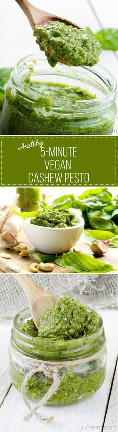 My healthy 5-minute vegan cashew pesto is one of the simplest - and most delicious - things you can make for your pasta. It's also fantastic on baked potatoes, crostini, or even as a dip for chips and