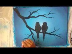▶ Acrylic Painting on Canvas : Love Birds - YouTube