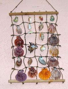 "18"" X12"" ROPE & SHELL WALL HANGING SEA SHELL DECOR CORAL NAUTICAL TROPICAL 