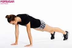 Technique tip for high plank: Keep your hand under your shoulders and feet hip-width apart. Don't drop your head — you wan...