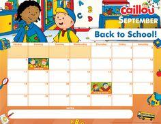 Printable Caillou Calendar – September 2016