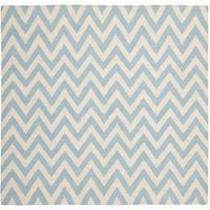 Safavieh Hand-woven Moroccan Dhurrie Chevron Blue/ Ivory Wool Rug (6' Square)