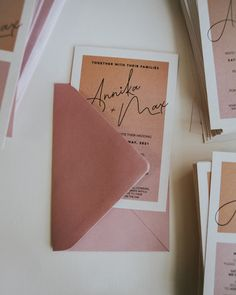 These colours for this custom wedding invitation are so perfect for these gorgeous clients. Gradient Blush wedding invitations Blush Wedding Invitations, Colours, Day
