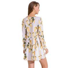 Women s V-Neck Lemon Print Full Sleeve White Dress-Habitout 8e0aaf88a