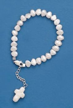 5mm Cultured Pearl Sterling Silver Bracelet, 5+1inExt long, Child-Size, 5/8 inch Pearl Cross Drop Silver Messages. $23.99