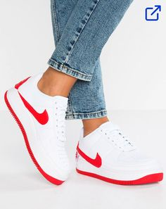 huge discount 42a80 357b1 Nike Air Force 1 Jester Red Basket rouge et blanche Lacets De Couleur,  Basket Nike