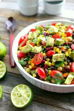 Avocado and Three Bean Salad is a filling and satisfying dish