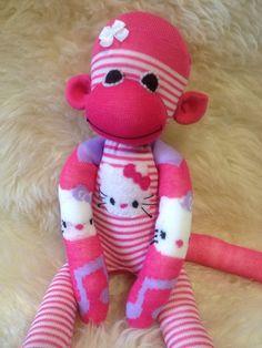 12 pink Hello Kitty inspired custom handmade sock by MushTushy, $30.00
