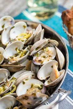 Grilled Clams in White Wine Sauce from Everyday Good Thinking, the official blog of @hamiltonbeach