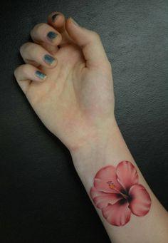 Pink Hibiscus Wrist Tattoo by Ryson Lapenia