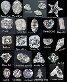 Round This is by far the most popular shape of diamond and has been around for hundreds of years. The diamond cutters have been working wi. Types Of Diamond Cuts, Types Of Diamonds, Diamond Shapes, Diamond Cut Chart, Bijoux Design, Schmuck Design, Diamond Rings, Diamond Jewelry, Silver Jewelry