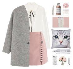 """""""Pink and Grey"""" by hiddlescat ❤ liked on Polyvore featuring Miu Miu, Chicwish, MANGO, Max Benjamin, M&Co, Herbivore, French Girl, Home Decorators Collection, Moleskine and L:A Bruket"""