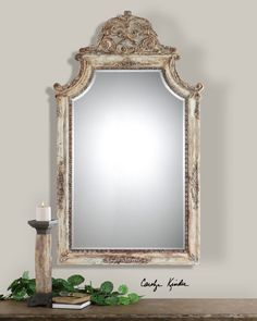 French Tuscan European Old World Portici Wall Mantle Dresser Mirror Large #Uttermost #Tuscan