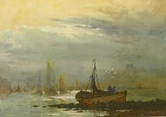: Robert Leslie Howey (1900-1981): Fishing boats in Whitby Harbour, watercolour heightened in white signed 27cm x 37cm