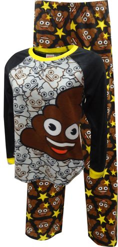 The most popular emoi is right here. These hysterical pajamas for ladies feature the poop emoji on a soft microfleece fabric. The pajama top has contrast sleeves and the elastic waist pull on pants have an all over poop emoji print.