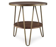 Signature Design By Ashley Lettori Brown Round End Table - Big Lots Hairpin Legs, Tubular Steel, Dream Decor, Signature Design, End Tables, Contemporary Style, Cleaning Wipes, Shelves, Cool Stuff