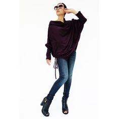 No.59 Plum Cotton Jersey Batwing Tunic Loose Asymmetrical Sweater... ($44) ❤ liked on Polyvore featuring tops, tunics, black, sweaters, women's clothing, asymmetrical tunic, camis, black crop top and cowl neck tunic