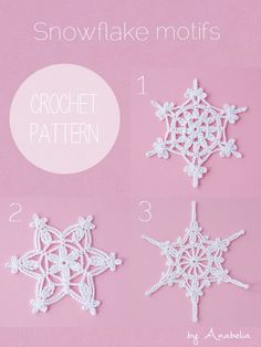 You're going to love Crochet snowflakes motifs by designer Anabelia Craft Design. Crochet Diy, Thread Crochet, Crochet Motif, Irish Crochet, Crochet Doilies, Crochet Flowers, Crochet Patterns, Crochet Snowflake Pattern, Crochet Stars