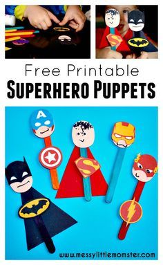 A simple craft stick superhero puppet activity for kids to accompany the LEGO superhero phonics books .  FREE PRINTABLE Batman, Superman, Spiderman, Ironman, Flash, Captain America masks and badges.