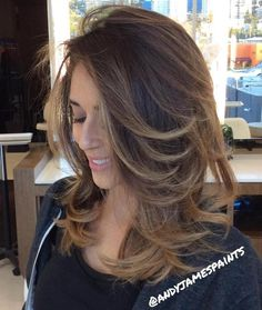 Medium Length Blowout Hair with Soft Balayage Highlights Shoulder Length Layered Hair, Medium Length Hair Cuts With Layers, Long Layered Hair, Medium Hair Cuts, Medium Hair Styles, Long Hair Styles, Hair Layers, Hairstyles Haircuts, Straight Hairstyles