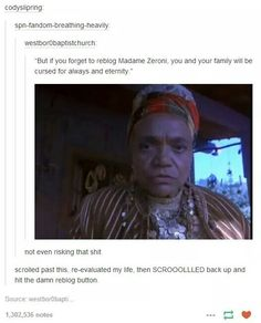 Don't fuck with Madame Zeroni.
