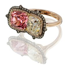 IVY Cushion cut Diamond 3.16 ct, Pink Spinel 3.17 ct, diamonds, in gold