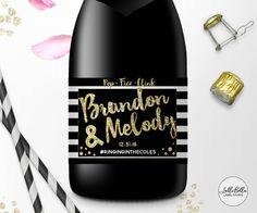 Black & Gold Mini Champagne label Champagne Bar by LolliBella