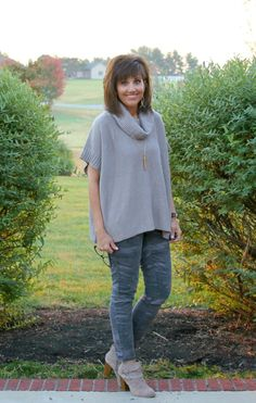 Casual fall fashion with my camo pants from LOFT. I styled it with a cowl neck poncho from Old Navy.
