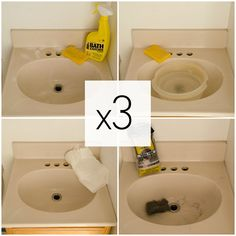 how to paint a sink take bathroom ideas, how to, painting, plumbing Painting A Sink, Diy Painting, Bath Cleaners, Tub Tile, Small Bathroom, Bathroom Ideas, Bathrooms, Base Cabinets, Home Repair