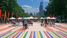 For the second summer, The Oval returns, as Philadelphia's Parks and Recreation partnered with the Fairmount Park Conservancy and the Association for Public Art, changes the otherwise dull space into a public park.