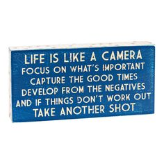 """Camera Pallet Wall Art, 6"""" x 12""""  //  $9.99  Home Decor Quotes- Wall art camera wall quote Home Decor Quotes, Wall Art Quotes, Pallet Wall Art, Good Times, Quote Of The Day, Mindfulness, Wall Decor, Positivity, Motivation"""