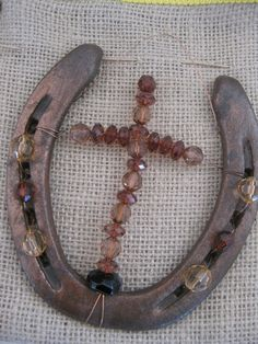Decorative Horseshoe - with Crystal Cross.