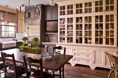 farmhouse table, smoky blue-grey color, white cabinets