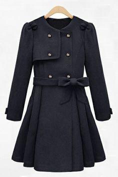 Double-breasted Skirt Hem wool coat _Coats_CLOTHING_Voguec Shop