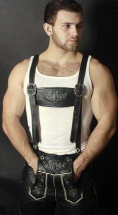 Leather Fashion, Leather Men, Mens Fashion, German Lederhosen, Bear Men, Man O, Hairy Chest, Hairy Men, Traditional Dresses