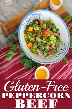 Gluten-Free Peppercorn Beef & Vegetables Recipe with thinly sliced pieces of beef in a thick savory bold peppercorn sauce. A favorite Chinese American dish. #glutenfree #celiacrecipe #glutenfreechinesefood #refinedsugarfree