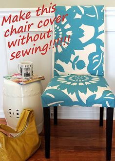 Slip Cover Chair Project Using Remnant Fabric (no sewing needed!)